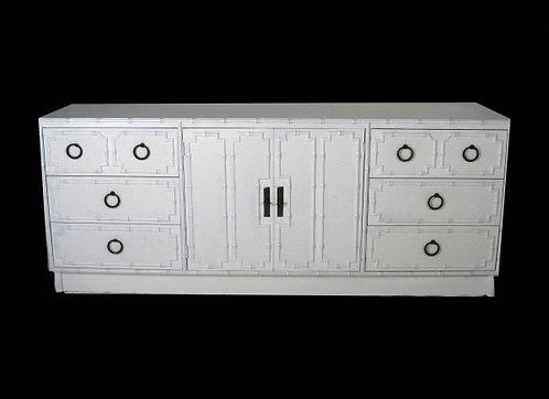 White Faux Bamboo Paneled Dresser with Bronze Hardware