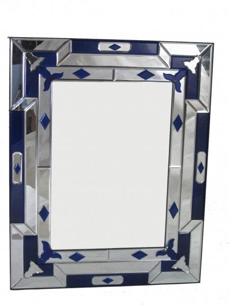 Geometric Blue Art Deco Mirror