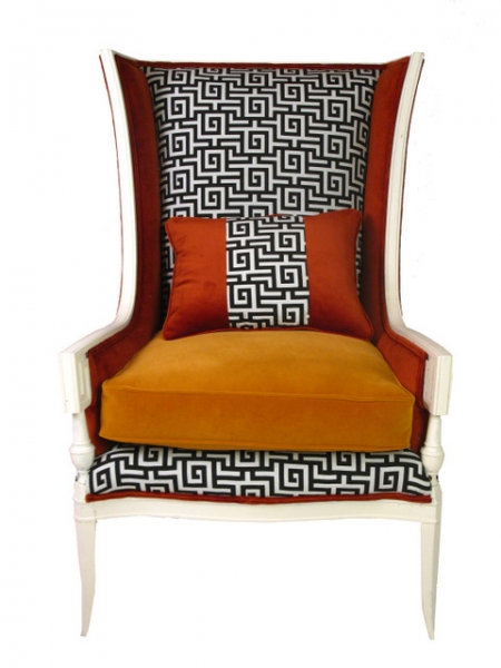Classical Greek Key Wing Chair