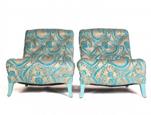 Pair of Turquoise Flocked Velvet Paisly Slipper Chairs