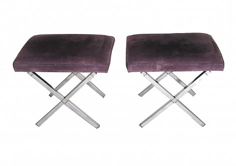 Pair of Grey Suede X-base Chrome Stools