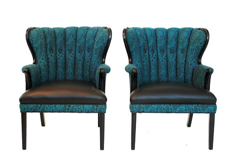 1950s Turquoise & Black Mid Century Modern Channel Back Accent Chairs - a Pair