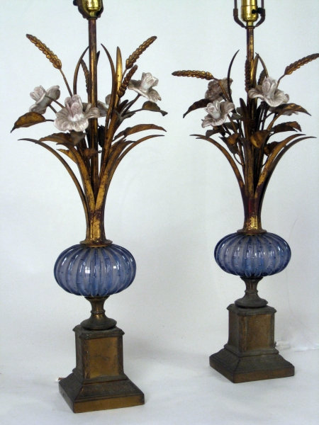 Pair of Gilt Wheat Lamps