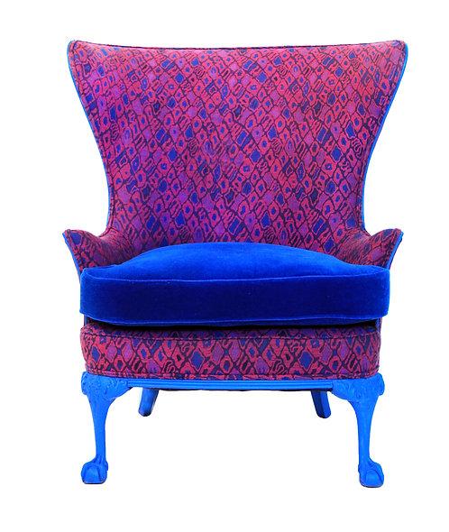 1920s Vintage Cobalt Blue Retro Wingback Accent Chair