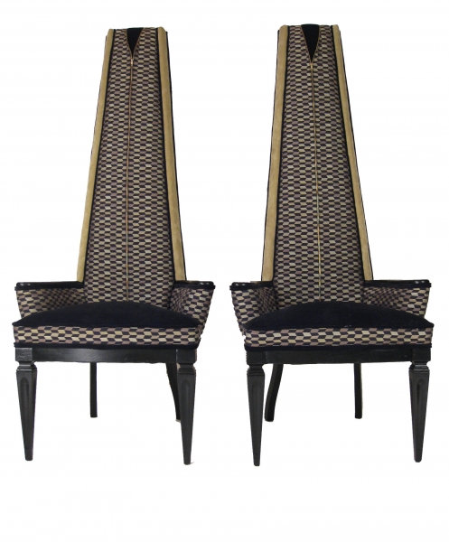 Pair of Highback Geometric Zipper Chairs