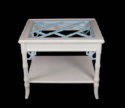 Baby Blue & White Faux Bamboo End Table