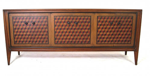 Rich Wooden Buffet with Rennaisance Cube Faux Marquetry