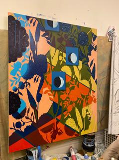 "''Guardian of the night'' Kahu o ka Pō (Hawaiian) Acrylic, 48""x60"""