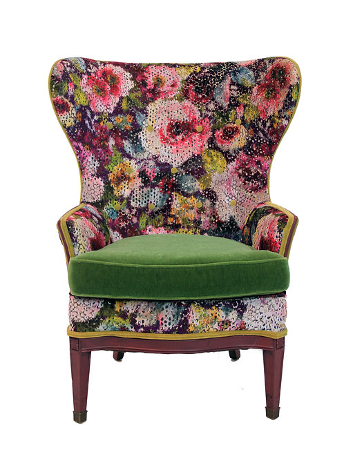 1920s Vintage Victorian Wingback Accent Chair