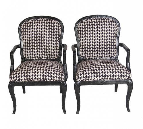 Pair of Houndstooth Chairs in Manner of Serge Roche