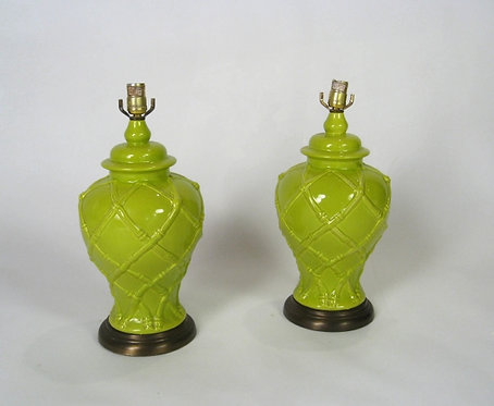 Pair of Lime Faux Bamboo Lamps