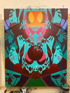 """Reflections of Paradise"" Mau Aniani o ka Lani (Hawaiian) Acrylic, 48""x60"""