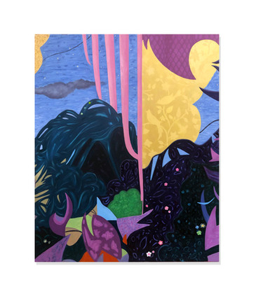 """""""Sweet Dreams are Made of This"""" Acrylic, Reflective paint, Micaflakes, Applique 48x60"""