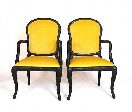 6 side 2 Arm Velvet Dining Chairs in Manner of Serge Roche