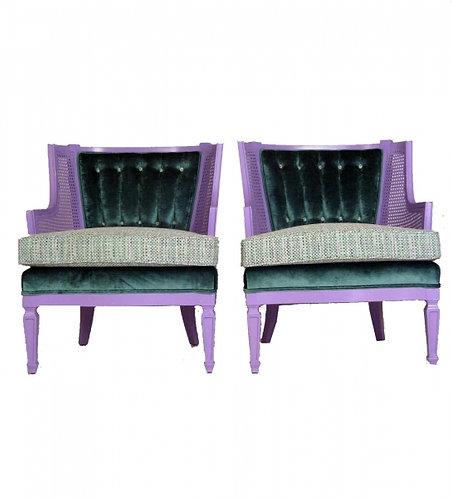 Pair of Purple Lady Chairs, CHANEL like fabrics