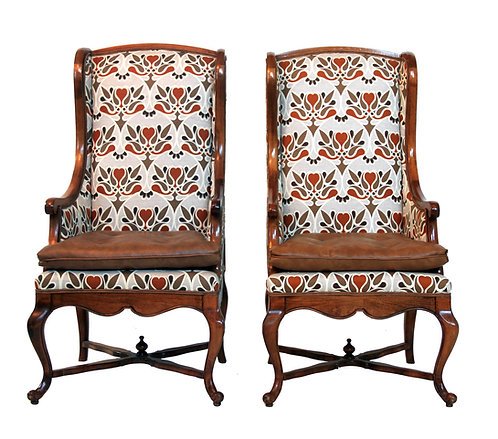1950s Vintage French Provincial Mid Century Walnut Tall Back Wing Chair - a Pair