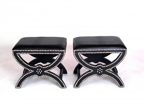Pair of Faux Black Croccodile Stools
