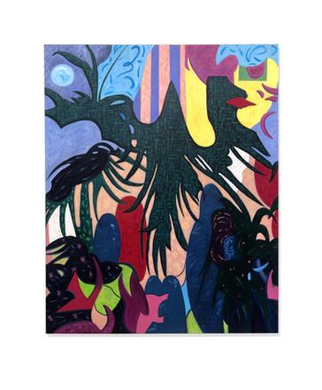 """Total Eclypse of the Heart"" Acrylic, Gemstones, 48x60"
