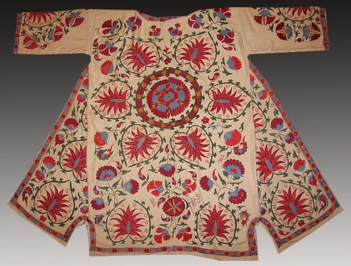 Embroidered Silk Suzani Robe Bukhara