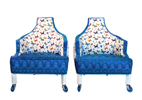 1960s Vintage Christian Lacroix Inspired Cobalt Butterfly Accent Chairs - a Pair