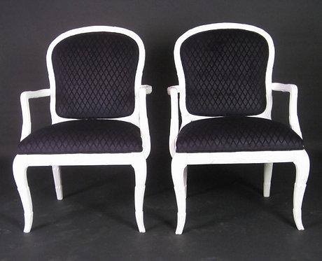 Pair of Black Diamond Velvet Chairs in Manner of Serge Roche