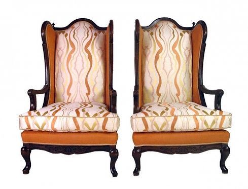 Pair of French Highback Fireside Wing Chairs
