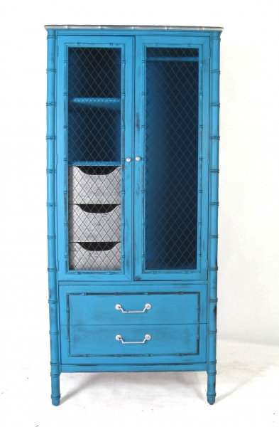 Blue & Silver Leaf Faux Bamboo Cabinet