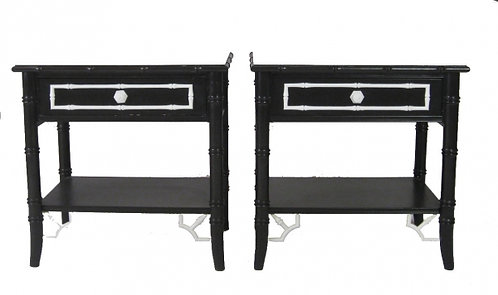 Pair of Black & White Faux Bamboo Stands/End Tables