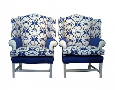 Pair of Oversized Blue and White Blossom Chairs