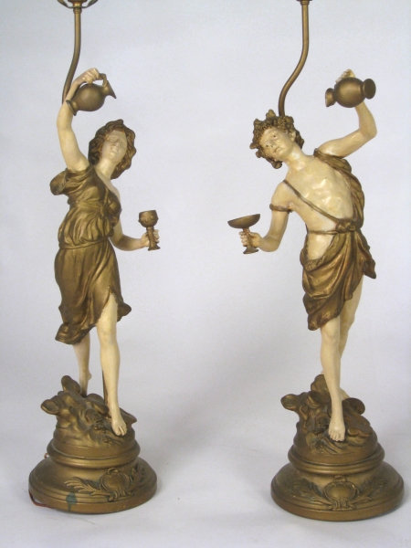 Pair of French Rousseau Figural Lamps
