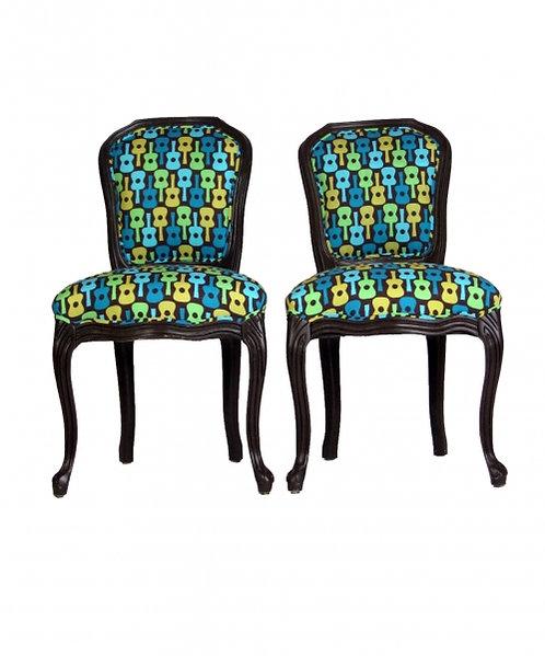 "Pair of ""Musical Chairs"". Dark Chocolate Frame"