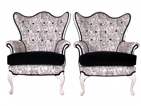 Pair of French Skull Wing Chairs