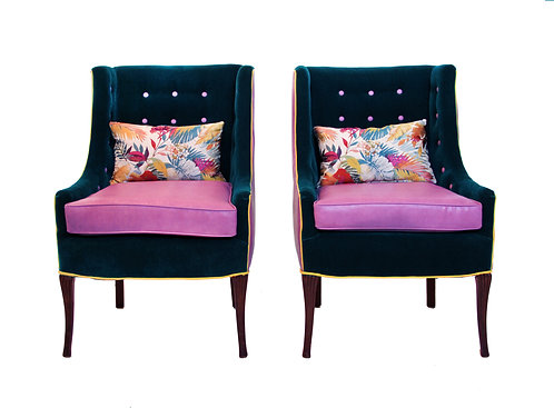 Mid Century Modern High Back Tufted Sleigh Chairs - a Pair