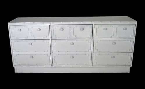 White Faux Bamboo Paneled Dresser