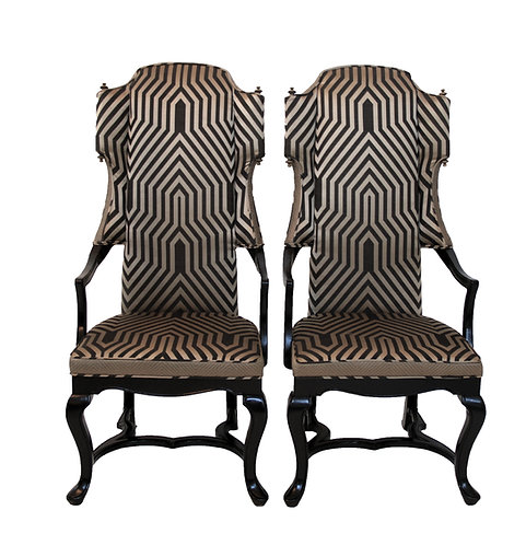 1960s Vintage Drexel Geometric Tall Wingback Arm Chairs - a Pair