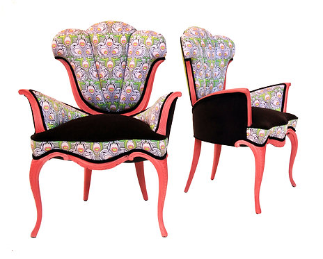 1950s Scalloped Tulip Accent Chairs - a Pair