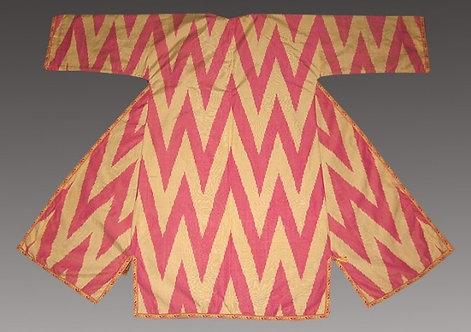 Zigzag Pink Silk Suzani Robe