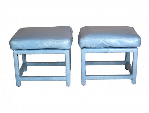 Pair of Milo Baughman Baby Blue Leather Stools