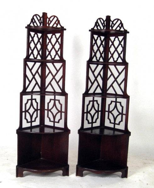 Pair of 1920s Chippendale Corner Shelves