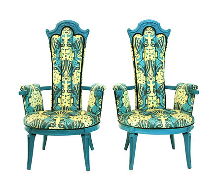 1940s Vintage Art Nouveau Accent Chairs - a Pair