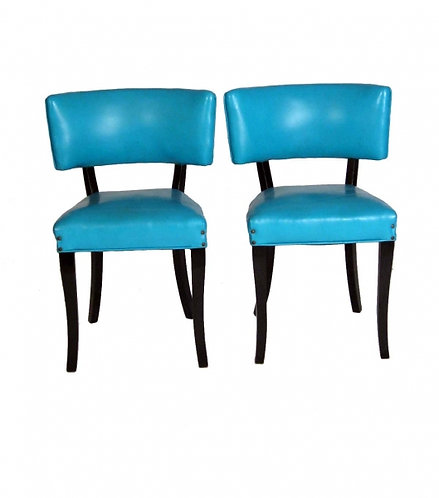 Turquoise Klismos Chairs, 2 Pairs Available