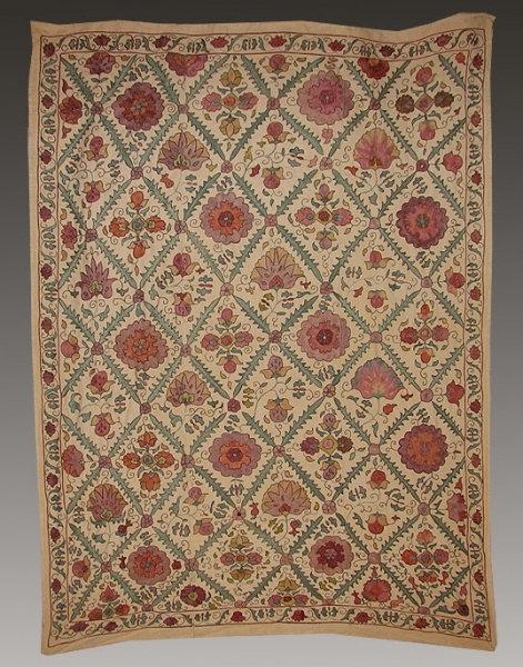 Uzbek Shafrikan Silk Hand Embroidered Suzani