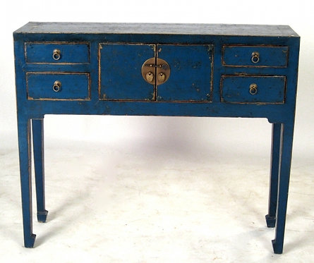 Small Antique Blue Asian Console