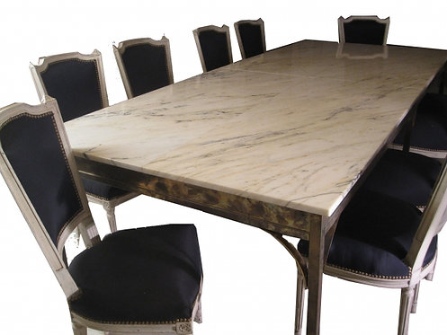 Long Brass Dining Table with Marble Top