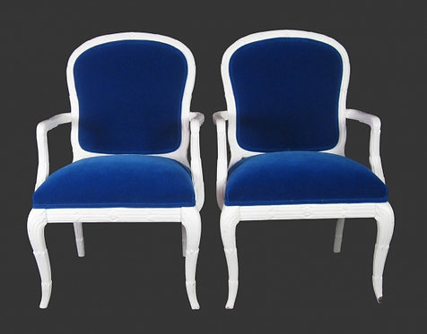 Pair of Royal Blue Mohair Chairs in Manner of Serge Roche