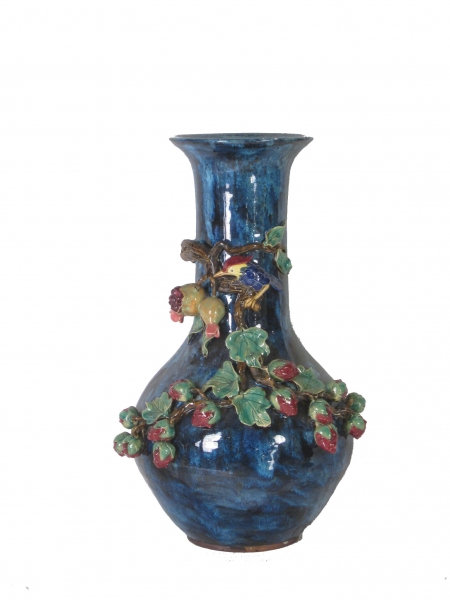 Large Sculpted Berrie & Bird Urn