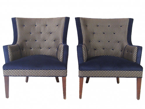 Pair of Geometric Tufted Lounge Chairs
