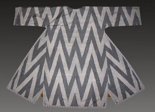 Zigzag Black Silk Suzani Robe