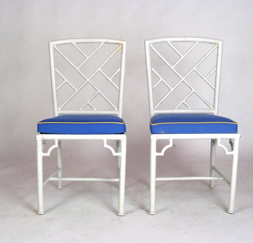Pair of White Metal Chippendale Chairs