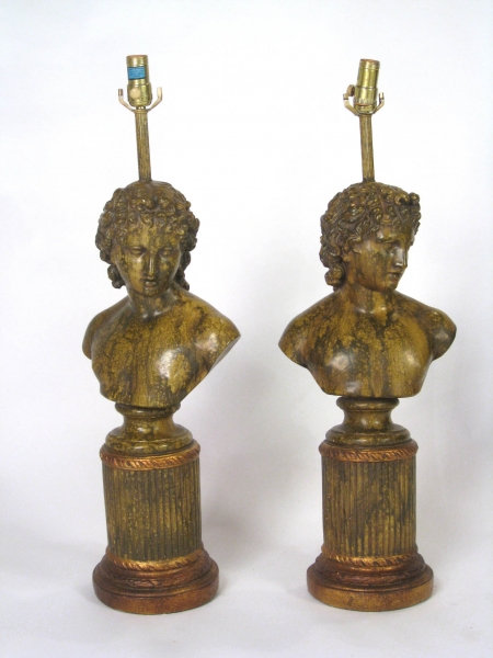 Pair of Roman Bust Lamps